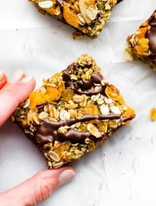 No Bake Apricot Oat Protein Bars {Nut Free, Vegan}
