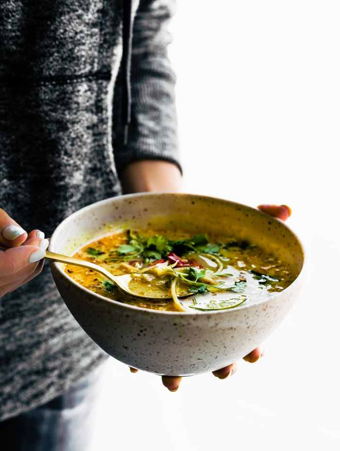 Easy Thai coconut soup with coconut milk and cabbage. This nourishing Thai soup is quick to make with simple ingredients. Low Carb, Paleo & Vegan friendly.