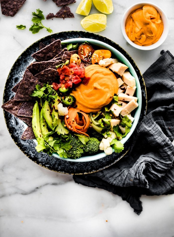 Healthy Leftover Turkey Nachos Salad Bowls! Utilize leftover turkey and vegetables with these quick and wholesome loaded salad bowls! Dairy free friendly.