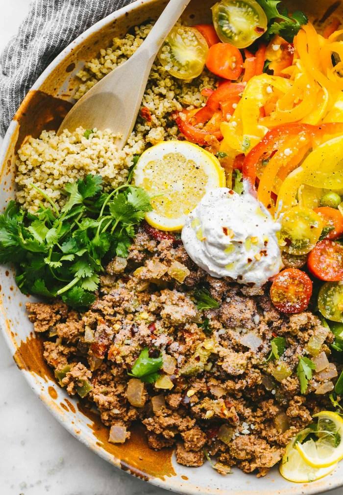 Deconstructed Stuffed Bell Pepper Bowls from nourishing superfood bowls cookbook #glutenfree #healthy