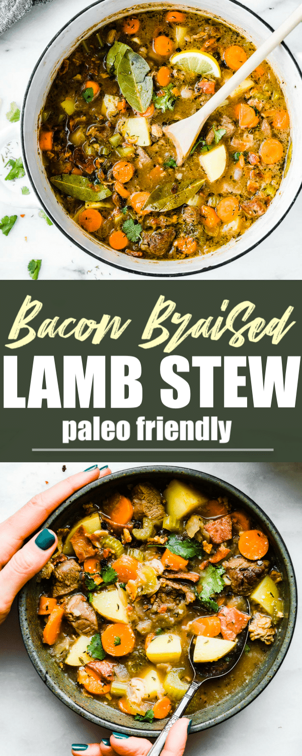 One pot Bacon Braised Lamb Stew!A #paleo friendly Lamb stew full of wholesome vegetables and hearty flavor! Minimal ingredients and easy to make. Let's just say the bacon and lamb combo together do wonders. Great for family dinners, freezer friendly, and #whole30 option. #onepot #stew #healthy