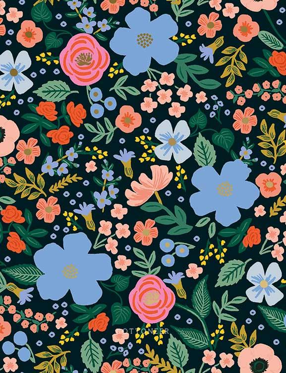 Wild Rose In Black Metallic Primavera By Rifle Paper Co Cottoneer Fabrics
