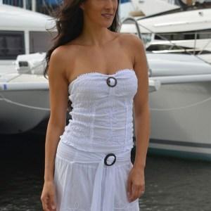 IBIZA -White Wrap Around Wood Buckle Skirt