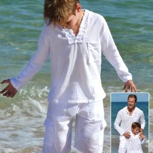 BOYS HOODIE SHIRT LONG SLEEVES - Cotton Natural