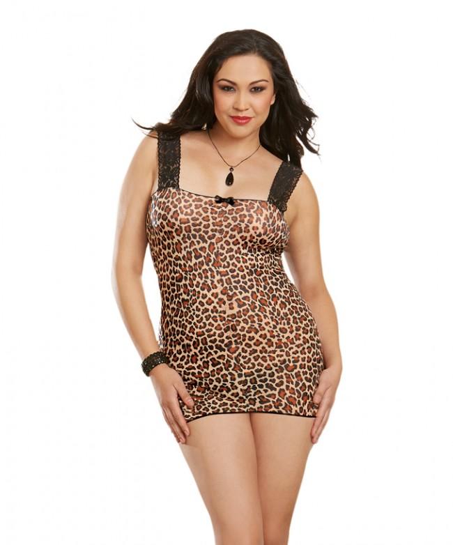 9b49651f8 Dreamgirl AIS Plus Size Leopard Print Stretch Mesh Sexy Chemise 10148X