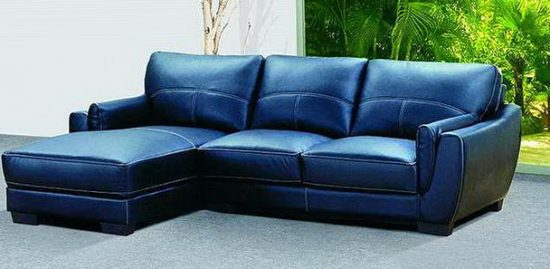 2021 trendy blue leather sofas for
