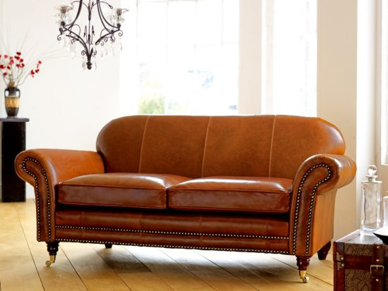 Tan Leather Chaise Sofa
