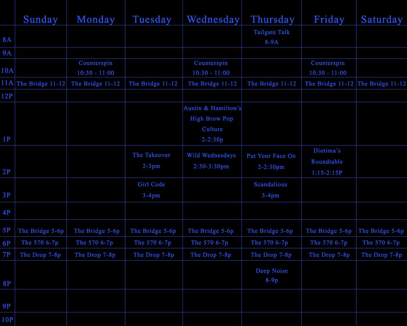 Schedule: Spring 2014