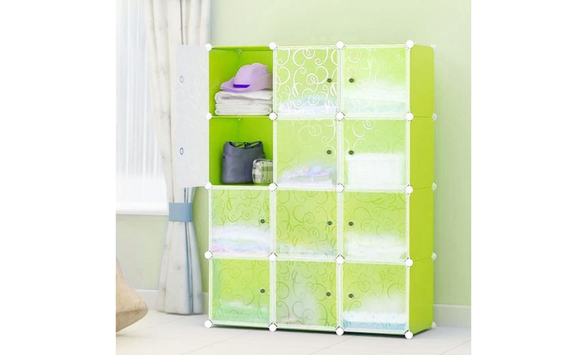 armoire penderie 12 cubes etagere modulables plastiques cadre en metal blanc 140 35 105cm achat vente armoire pas cher couleur et design fr