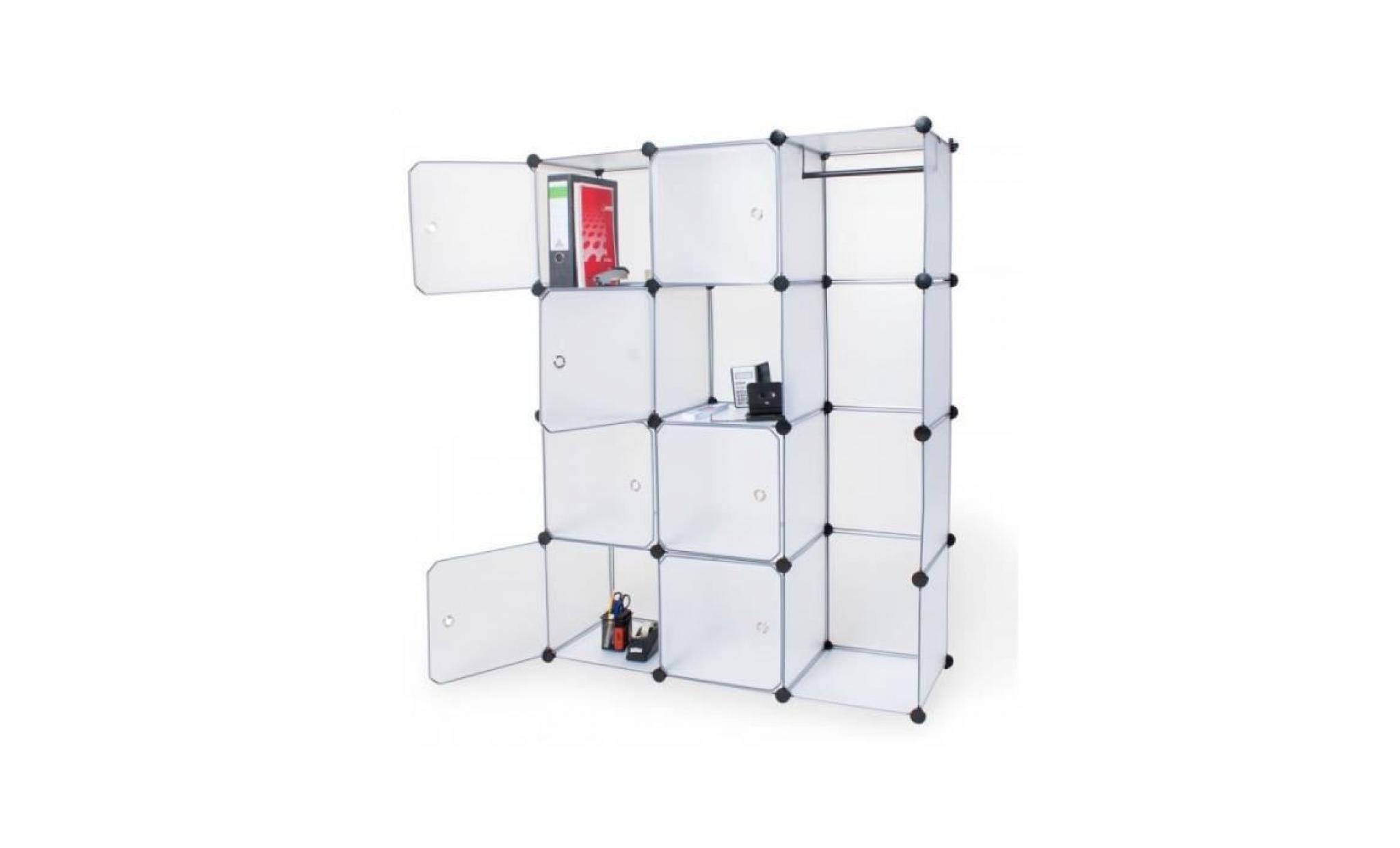 armoire de rangement meuble penderie etagere blanc 2008044 achat vente armoire pas cher couleur et design fr