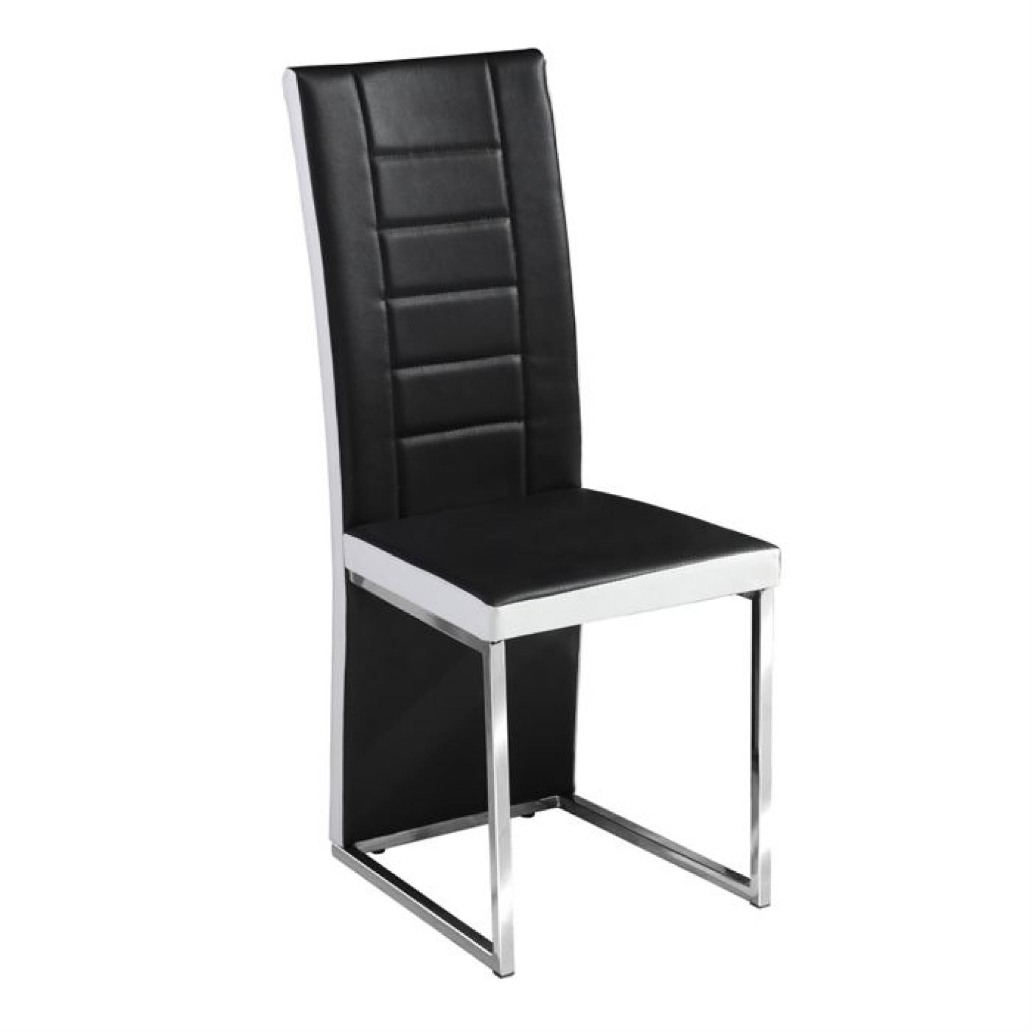 chaises design pu noir et blanc kuantan par4 achat vente chaise salle a manger pas cher couleur et design fr