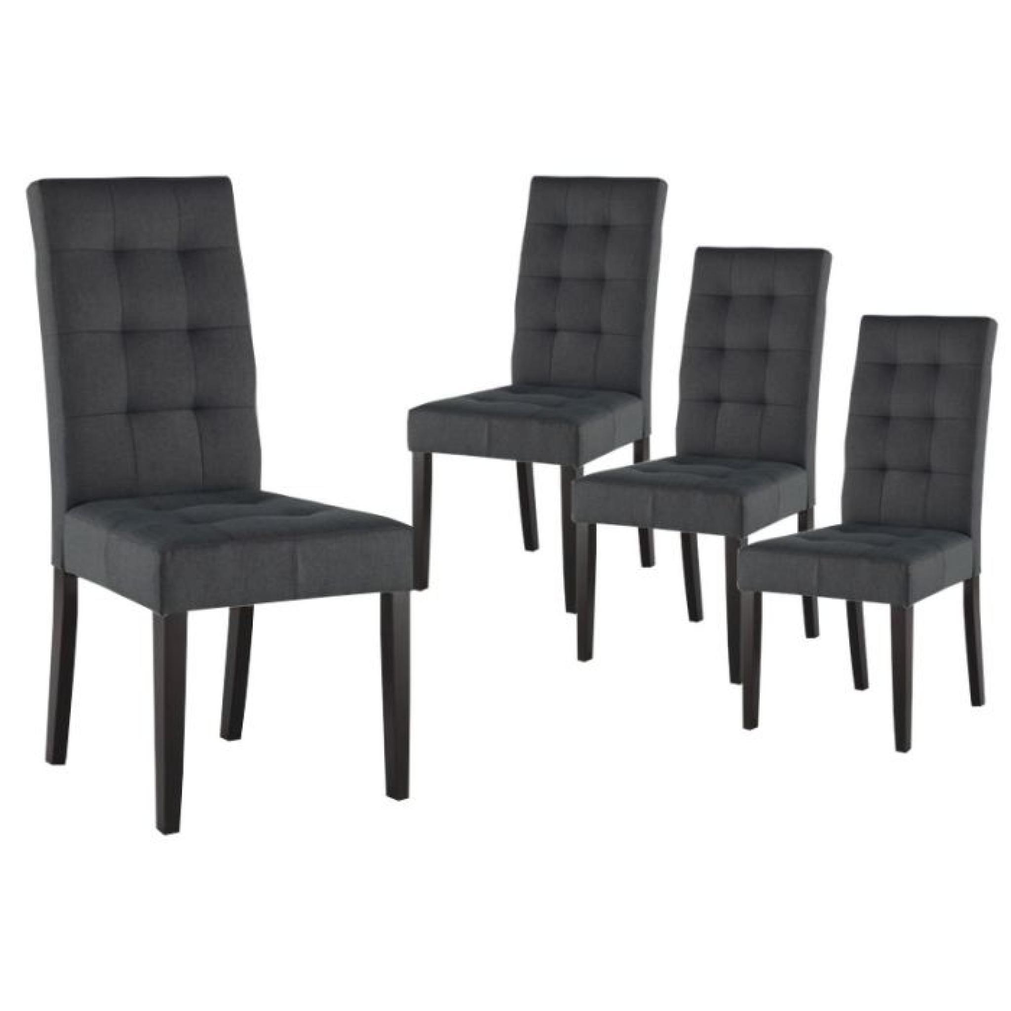 eden lot 4 chaises gris fonce achat vente chaise salle a manger pas cher couleur et design fr