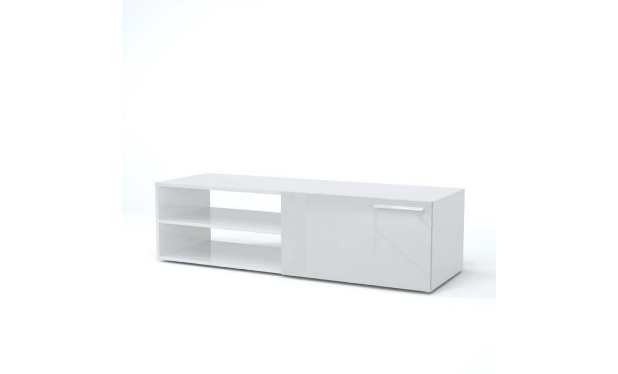 kikua meuble tv contemporain blanc brillant l 130 cm achat vente meuble tv pas cher couleur et design fr