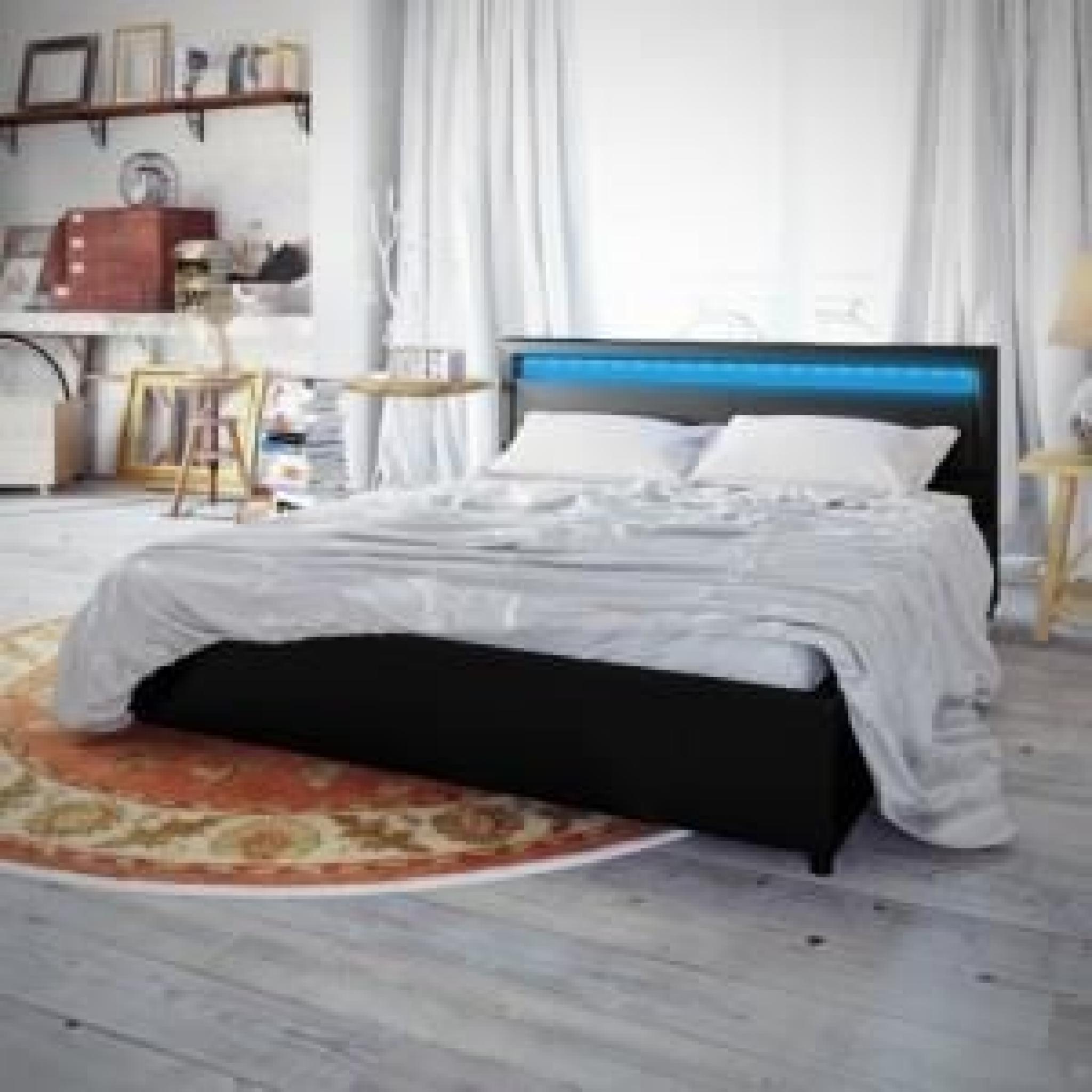 lit adulte noir 180 x 200 avec eclairage led achat vente lit pas cher couleur et design fr