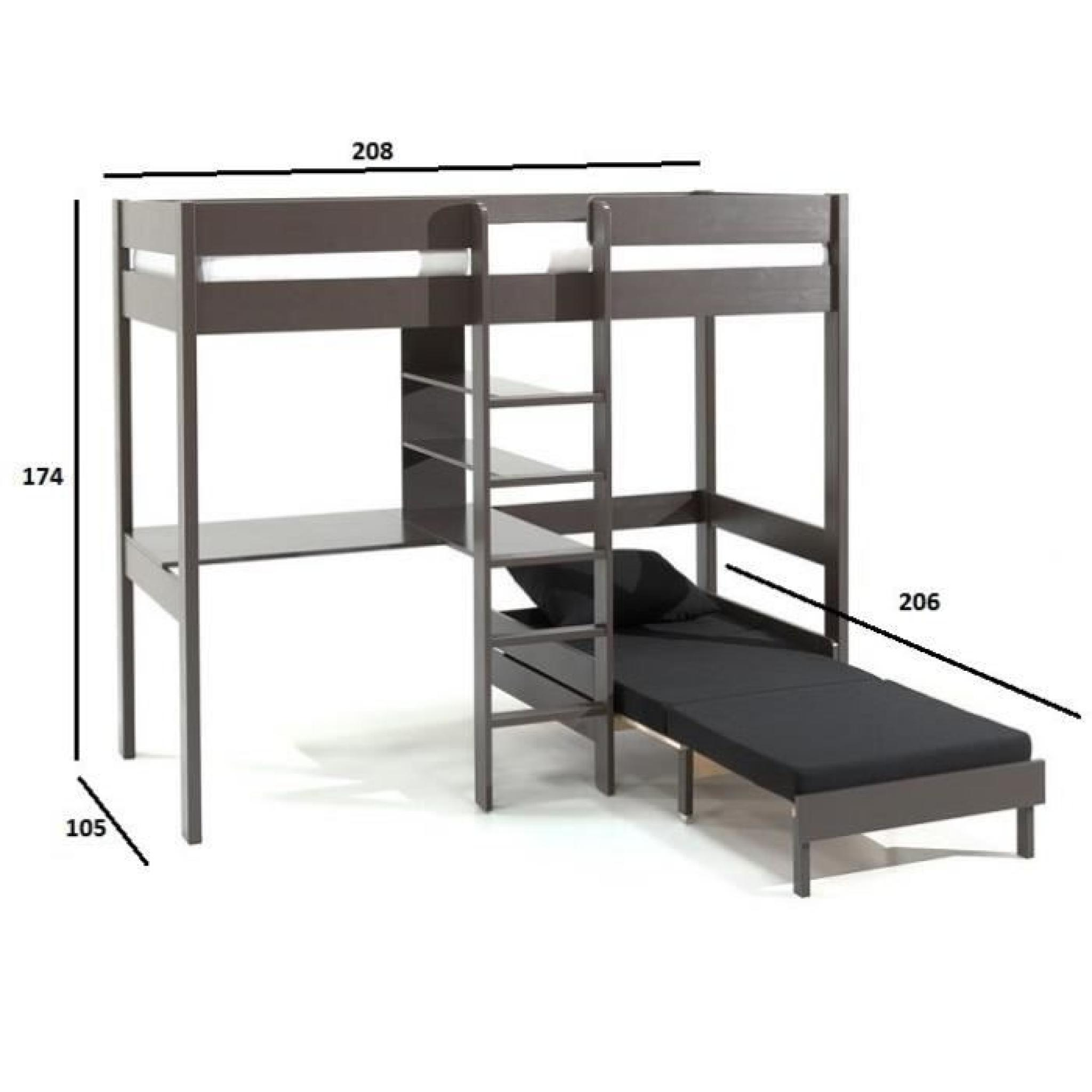 lit mezzanine avec fauteuil pino en pin vernis taupe achat vente lit mezzanine pas cher couleur et design fr