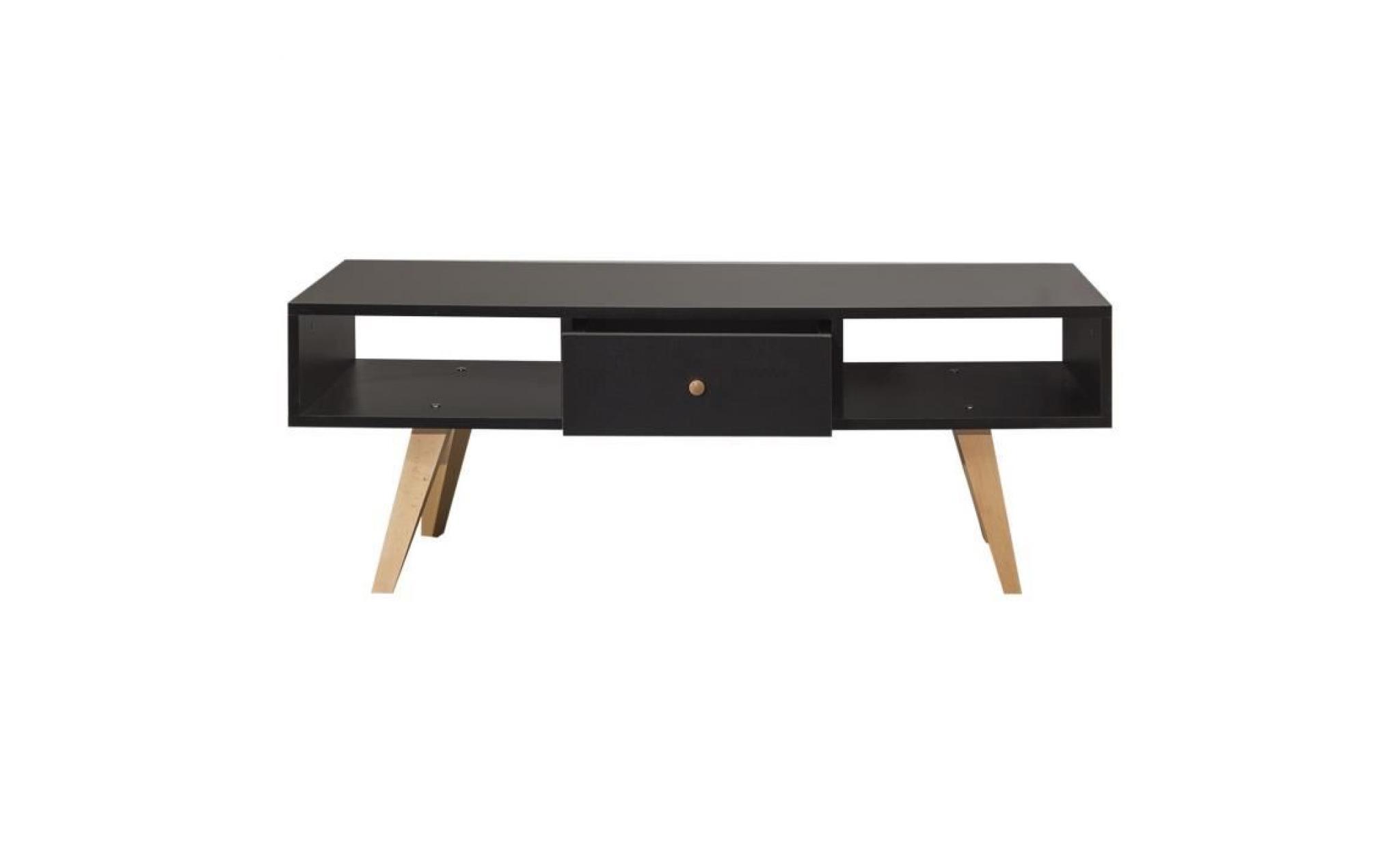 lund meuble tv scandinave melamine noir mat pieds en hetre massif l 117 cm achat vente meuble tv pas cher couleur et design fr