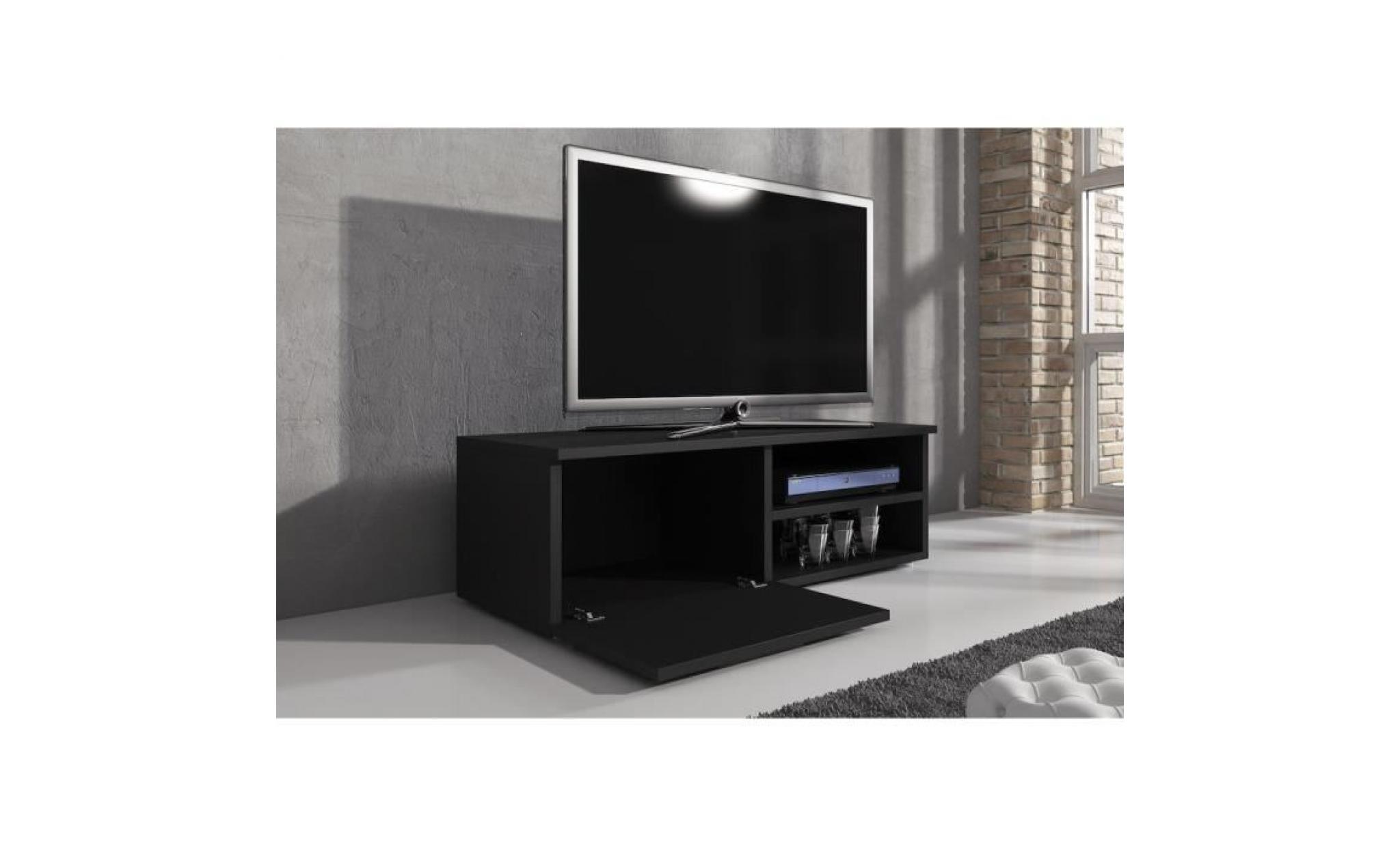meuble tv 120 cm mdf noir mat achat vente meuble tv pas cher couleur et design fr