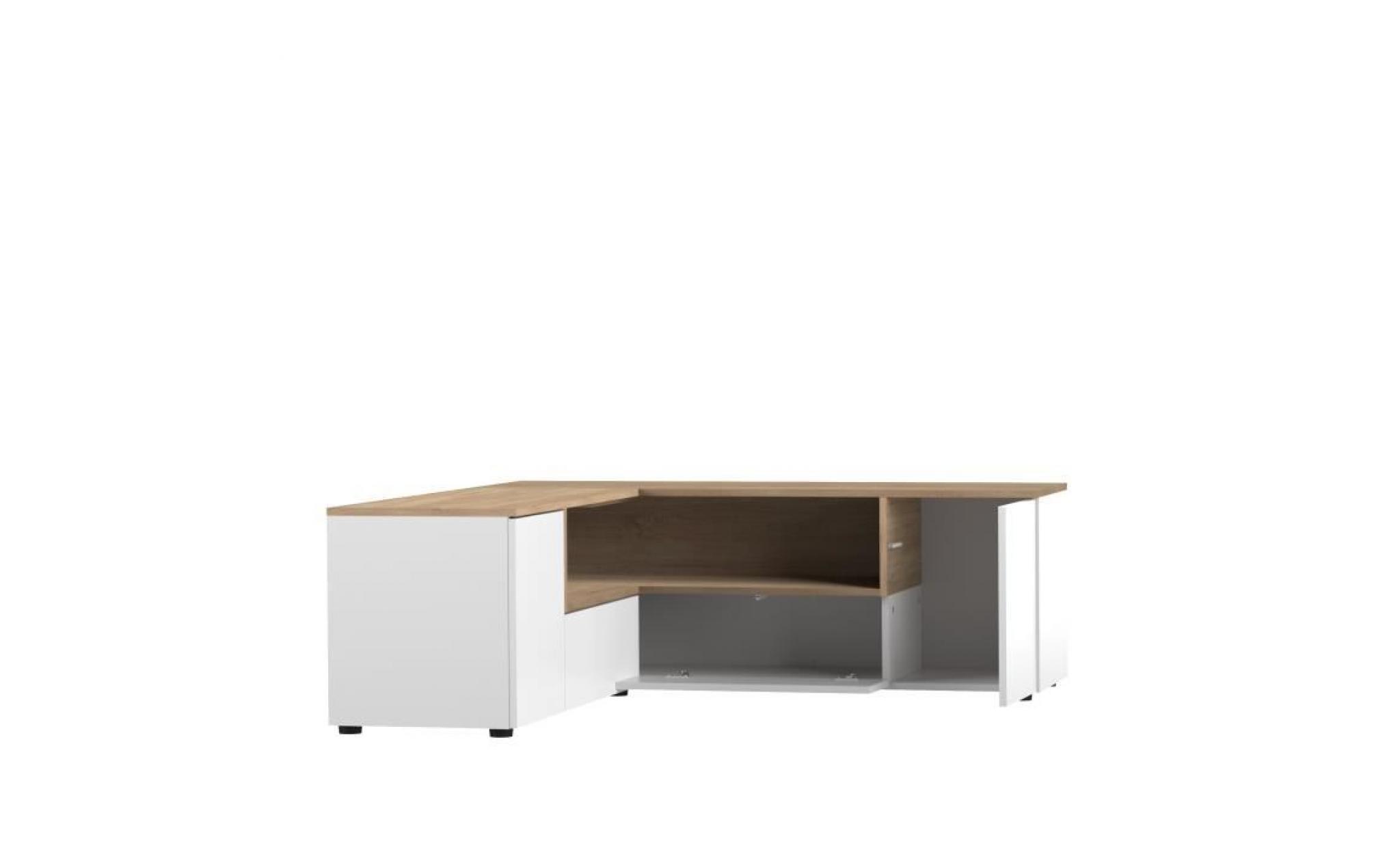 meuble tv d angle 130x130x46 cm blanc et chene squar achat vente meuble tv pas cher couleur et design fr