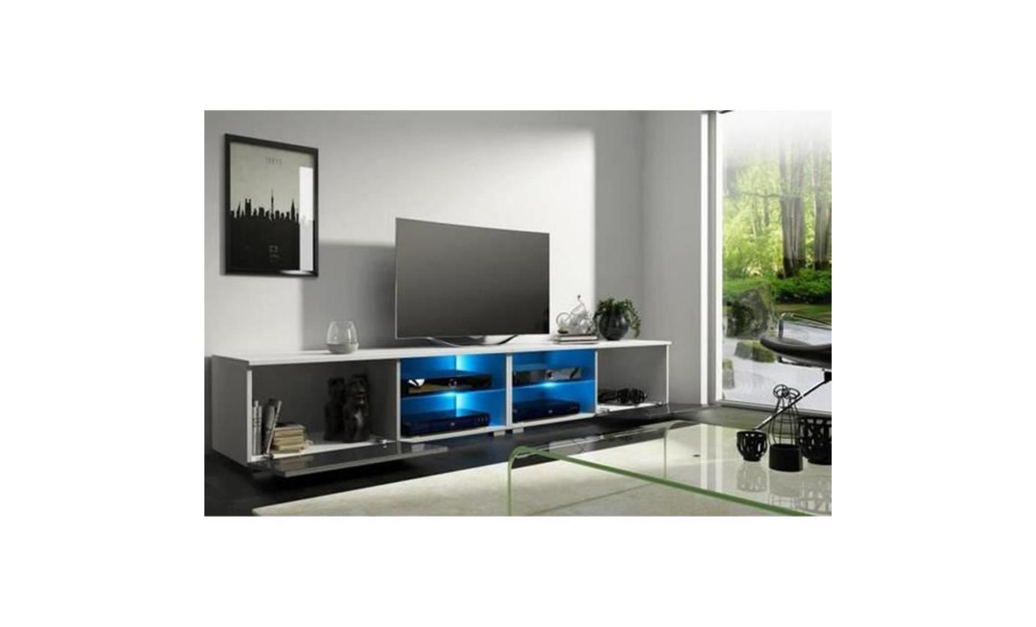 meuble tv design avec eclairage led coloris blanc noir brillant dim 100 x 40 x 36 cm achat vente meuble tv pas cher couleur et design fr