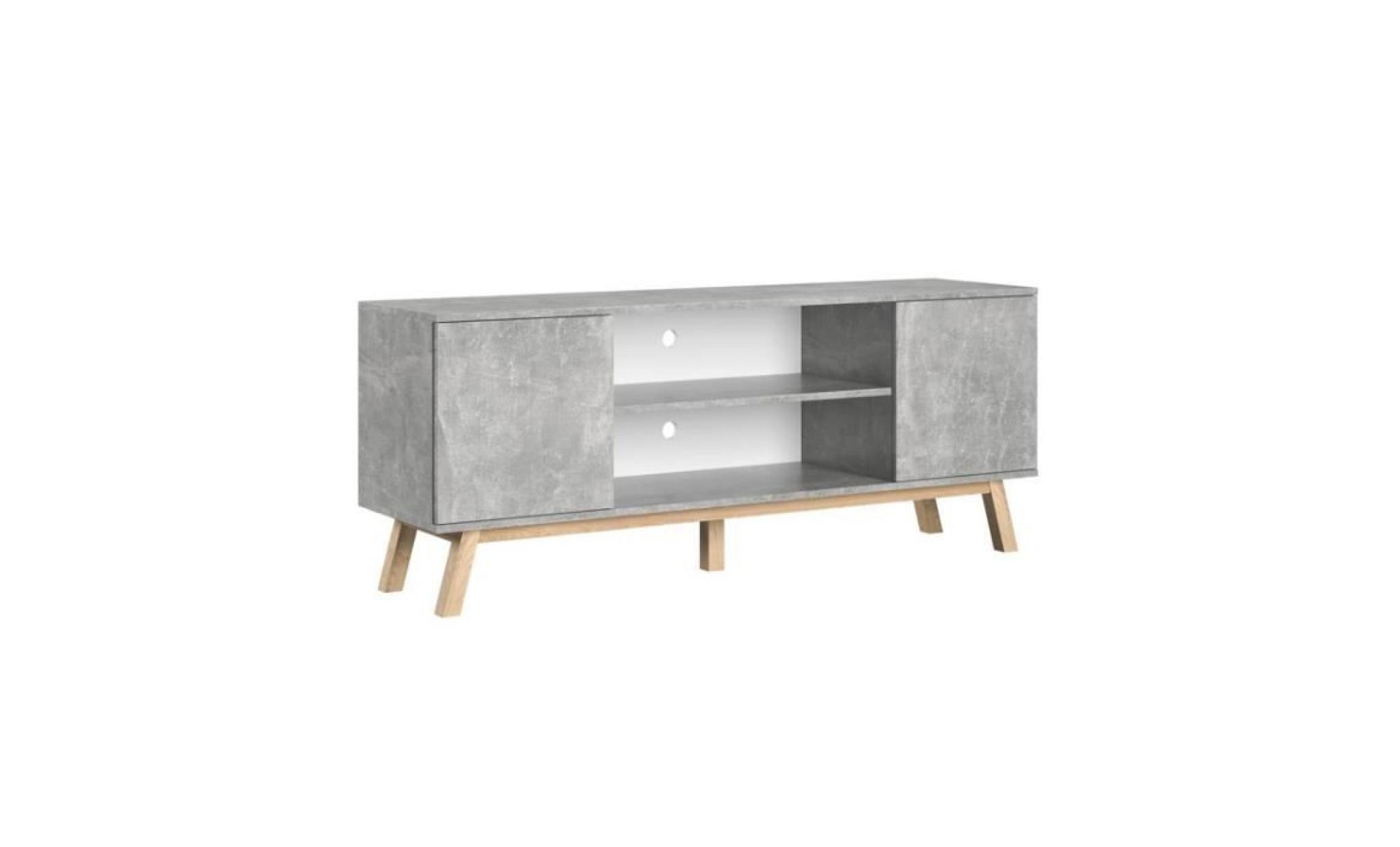 meuble tv multi usage armoire scandinave pieds en bois romeo gris achat vente meuble tv pas cher couleur et design fr