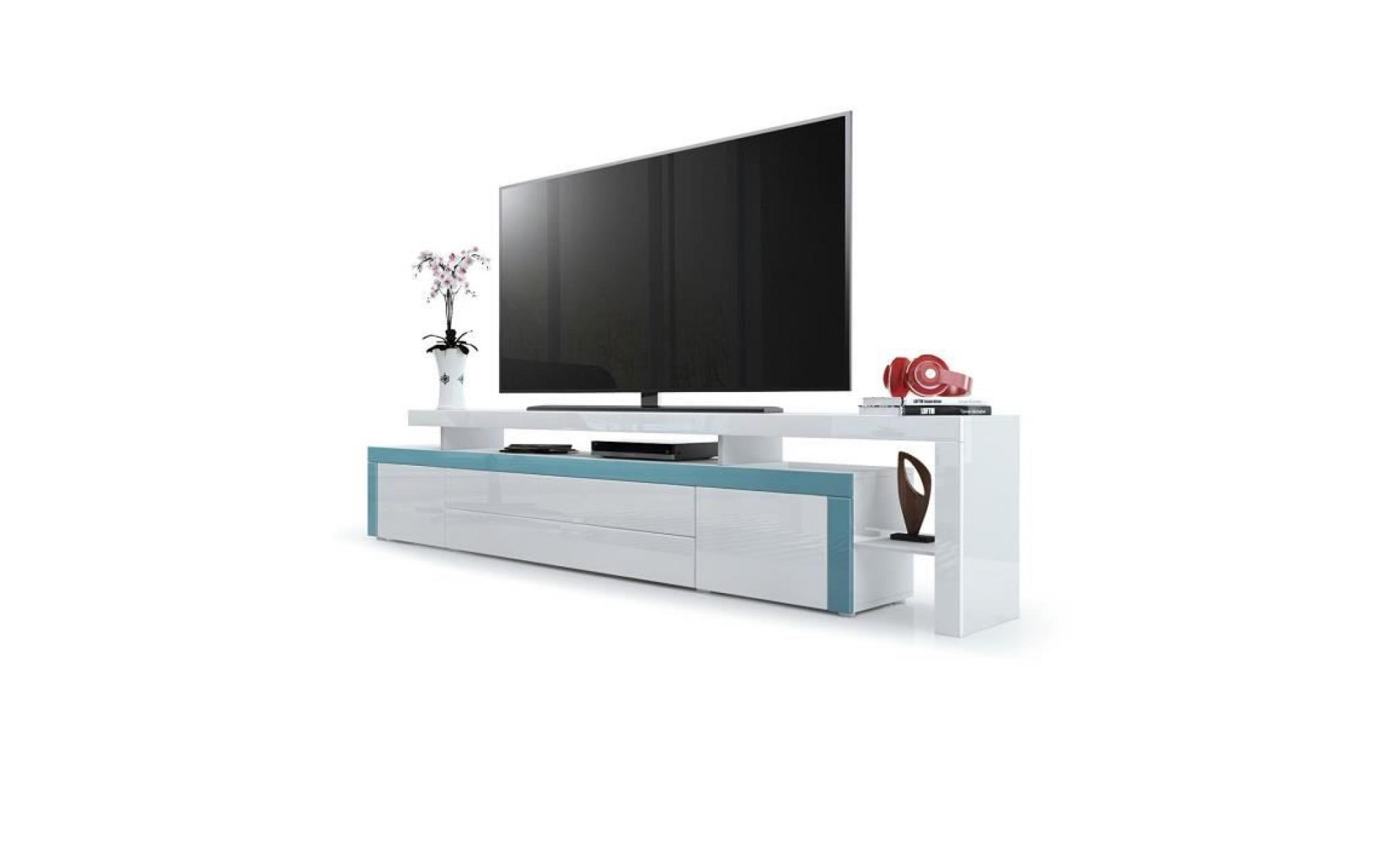 Meuble Tv Turquoise Blanc Laque 227 Cm Achat Vente Meuble Tv Pas Cher Couleur Et Design Fr