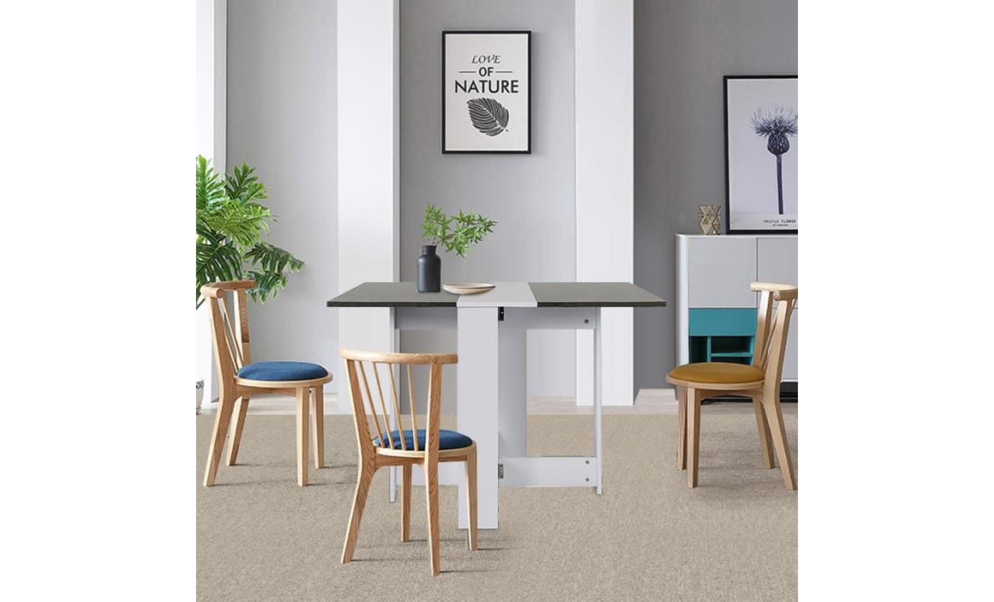 table a manger seule table a manger pliante de 4 a 6 personnes style contemporain blanc mat et decor beton l 103 x l 76 cm achat vente table salle a manger