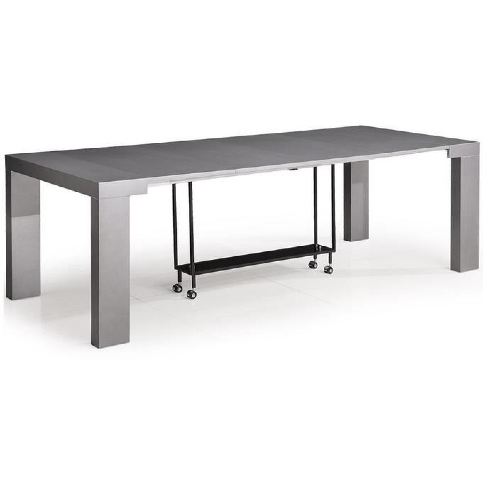 table console extensible olia gris satine l100 x p50 100 150 200 250 x h76 cm achat vente ensemble salle a manger pas cher couleur et design fr