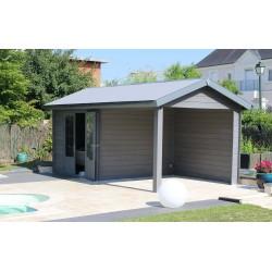 abri alu composite a toit plat 3 x 3 m