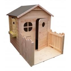 maison de jardin pour enfant en bois naturel avec terrasse cabane enfant