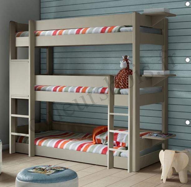 lit superpose triple solide et fonctionnel en bois massif colore