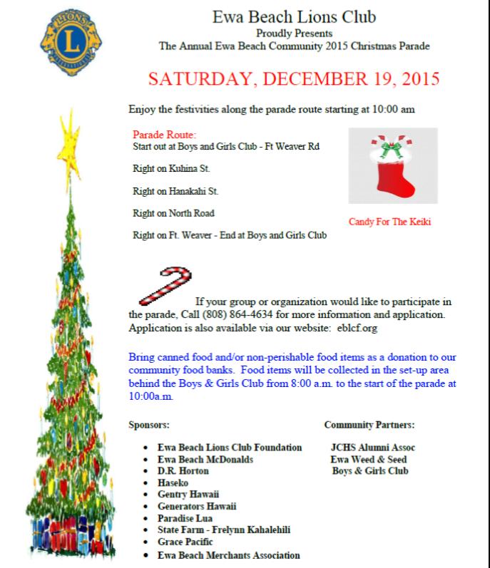 Ewa Beach Lions Club Christmas Parade – December 19, 2015 – Kymberly ...