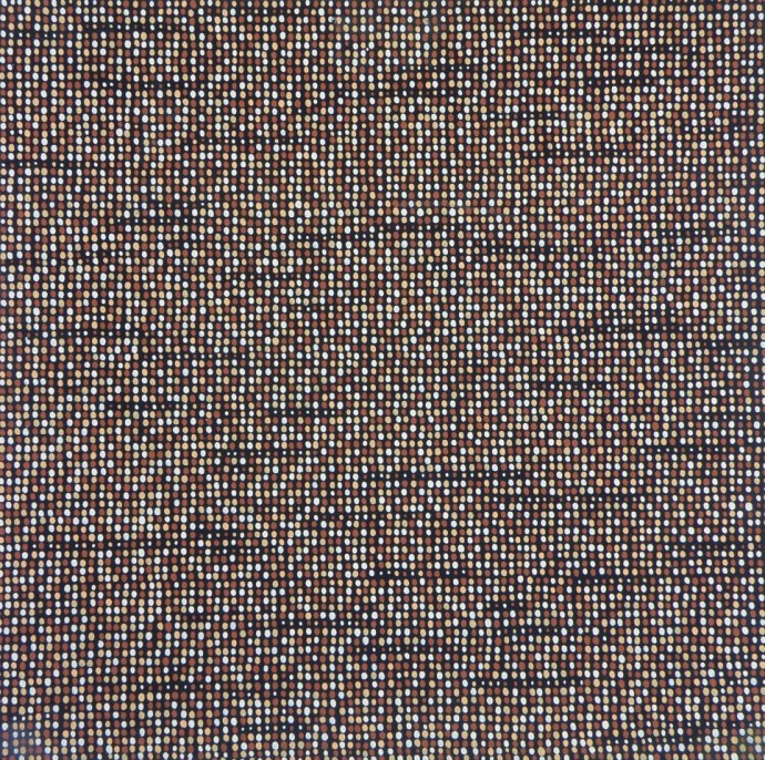 Unfinished Portrait: Iraq, Afghanistan, Pakistan, 2013. One of the thirty-eight panels painted with dots representing faces of Iraqi, Afghan and Pakistani children (the tiniest dots you see),  women, and men who have died in these wars. Together, these panels represent 335,768 faces.