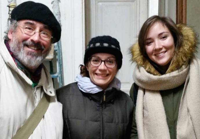Alina, on the right, with VCNV activists Brian Terrell and Erica Brock