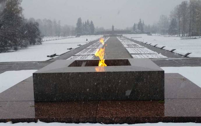 Memorial flame at Piskariovskoye Cemetery in St. Petersburg, where nearly half a million victims of the siege of Leningrad are buried.