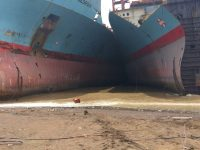 Maersk Georgia and Maersk Wyoming are beached by the Shree Ram yard in Alang, where they lie wedged between other end-of-life vessels in the intertidal zone. The tidal range is 13 meters. Photo: S. Rahman.
