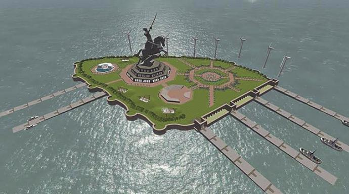 Concept plan of the Shivaji Memorial in Arabian Sea. courtesy: Maharashtra government.