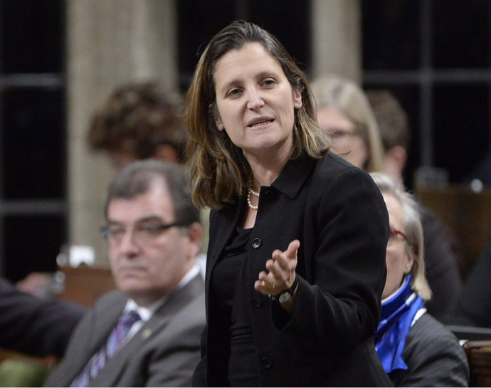 International Trade Minister Chrystia Freeland answers a question during Question Period in the House of Commons on Parliament Hill in Ottawa, on Monday, Jan.25, 2015. (Adrian Wyld/CP)