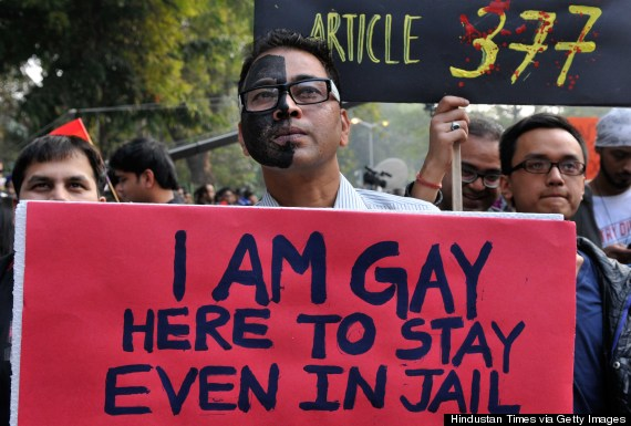 NEW DELHI, INDIA - DECEMBER 15: LGBT (lesbian, gay, bisexual and transgender) activists protest against Supreme Court's judgement on Section 377 that upheld section 377 of the Indian Penal Code that criminalizes homosexuality at Jantar Mantar on December 15, 2013 in New Delhi, India. India's Supreme Court last week reversed a landmark 2009 lower court order that had decriminalized gay sex. (Photo by Mohd Zakir/Hindustan Times via Getty Images)
