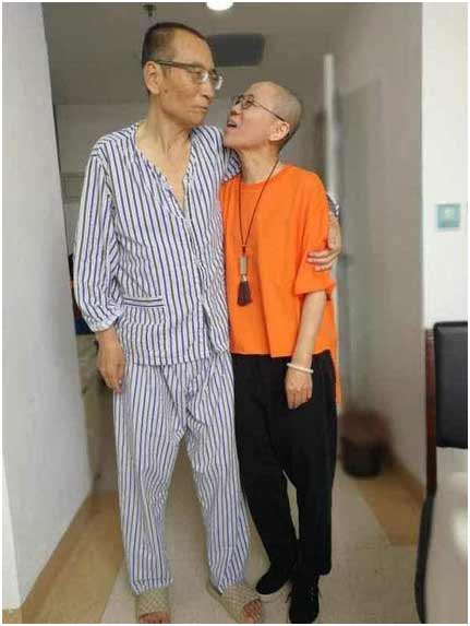 A picture shared on Twitter by the activist Ye Du showing Mr. Liu and his wife, Liu Xia. Credit Ye Du, via European Pressphoto Agency
