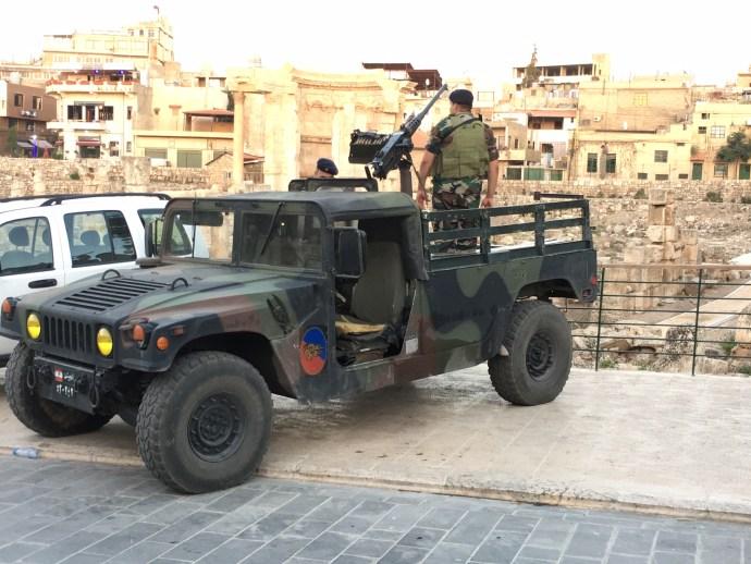 Lebanese army near in historic Baalbek