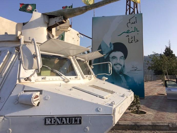 On Lebanon - Israeli border - UN armored vehicle and Nasrallah
