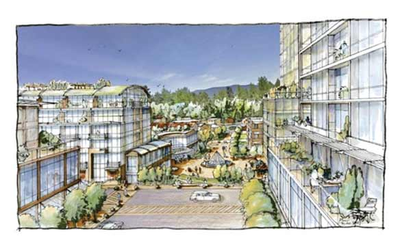 Artist Rendering of High-Rise, High-Density Capilano Road & Marine Drive Village Centre on the North Shore
