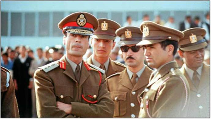 Circa 1970: Muammar Qaddafi with members of the Free Unionist Officers who later formed the Revolutionary Command Council. Far right is Abu-Bakr Yunis Jabr who,at 71 years of age,was captured alongside Qaddafi at the Battle of Sirte.