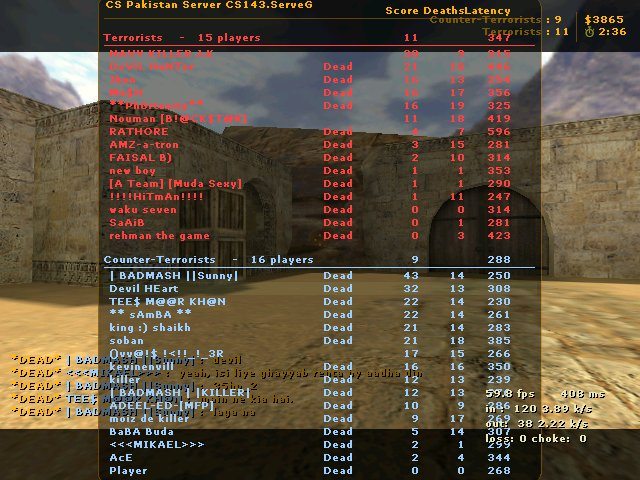 Counter-Strike Server Player List Scores