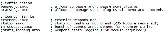 CounterStrike StatsX Plugins Ini File