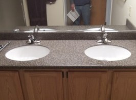 countertop and cabinet solid surface dual sink vanity