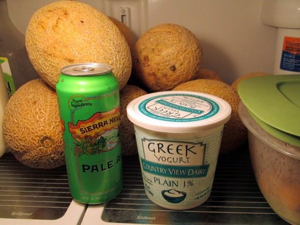cantaloupe in the refrigerator