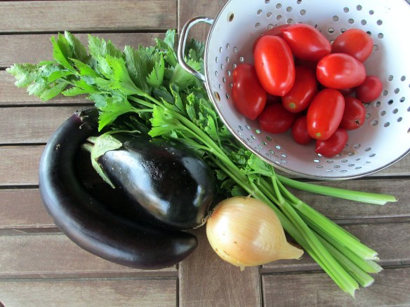 Ingredients for eggplant caponata