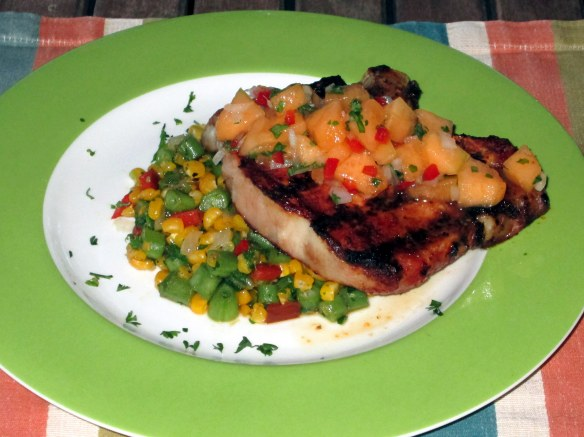 Grilled pork chop with cantaloupe salsa