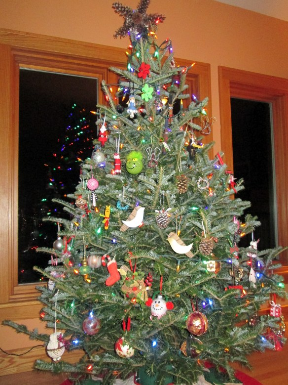Christmas tree with hand-crafted ornaments